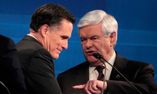 Republicans Gingrich and Romney debate