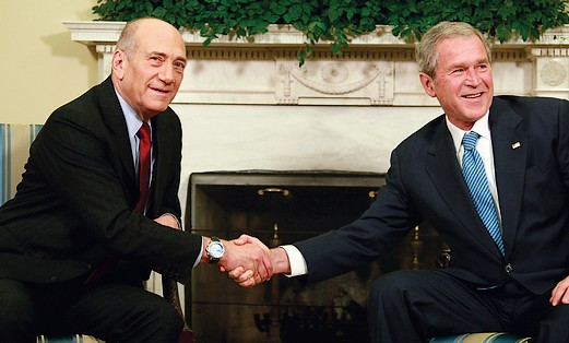 George W Bush and  prime minister Ehud Olmert