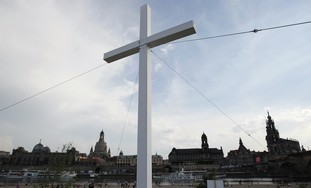 A giant cross seen at evangelical christian event