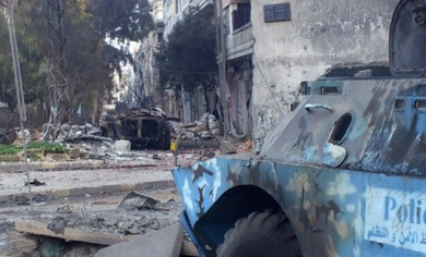 Military vehicle seen in Syria, Homs