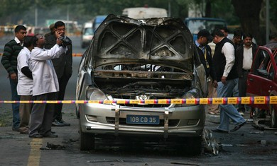Exploded car at Israeli New Delhi embassy