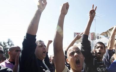 Israeli Arabs at protest in Jaffa