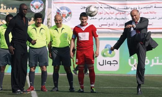 Jibril Rajoub plays soccer