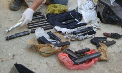 Weapons seized by police.
