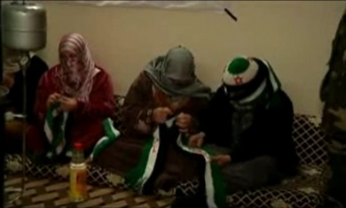 Syrian women knit for the revolution.