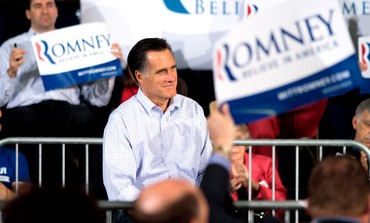 Republican Mitt Romney addresses supporters