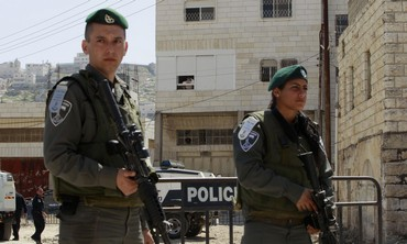 Israel border police stand guard in Hebron