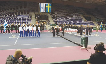 Israel's and Sweden's Davis Cup teams in Malmo