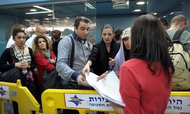 Detained 'flytilla' activists at Ben-Gurion Airpor