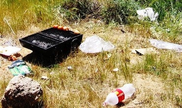 Trash left by barbecuers after Passover.