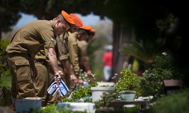 Soldiers lay flags on Graves on Remembrance Day