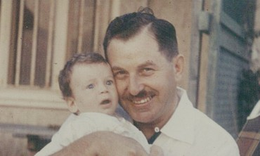 Isaac Herzog as a baby with his father, Chaim Herz
