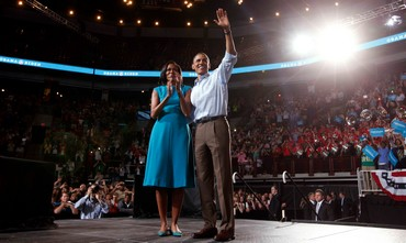 Barack Obama with wife at Ohio rally.