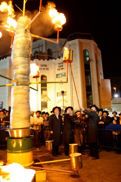 Fire lighting ceremony outside the Kaliv (Photo by Jeremy Sharon)
