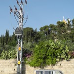 The electricity tower at the Garden of Gethsemane