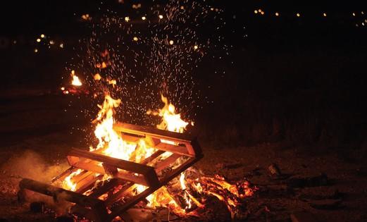 Burning wood on Lag Ba'omer
