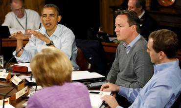 US President Barack Obama speaks at G8 summit