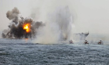 Iranian warship, speed boats in Hormuz war game