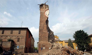 Damage from earthquake near Bologna, Italy