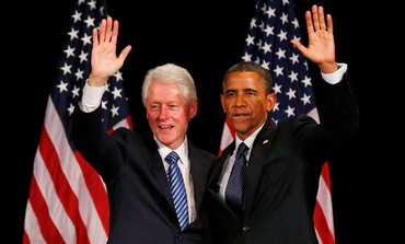 Bill Clinton and Barack Obama at fundraiser