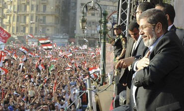 Egypt's Mohamed Mursi at Tahrir Square rally