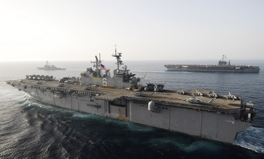 US warships stationed in Persian Gulf
