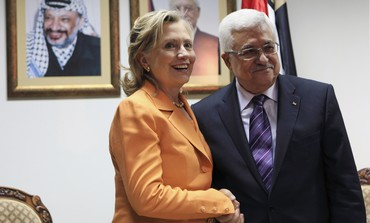 Clinton with Abbas during 2010 Ramallah visit
