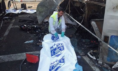 ZAKA worker at site of bombing.