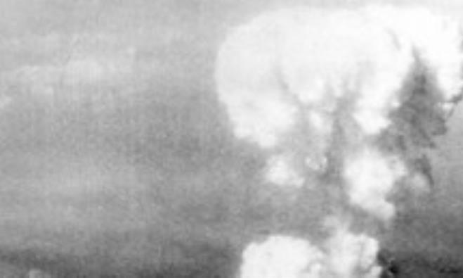 Smoke cloud rises from Hiroshima after atom bomb