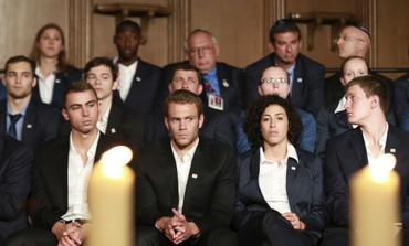 Israeli olympians at Munich memorial