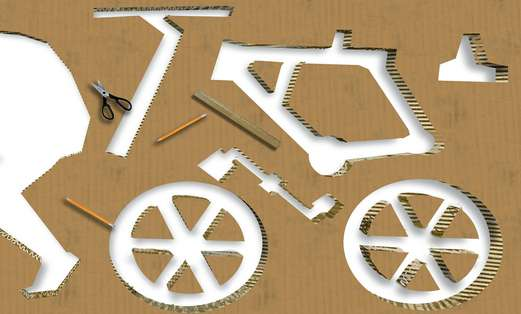 A cardboard bicycle