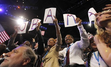 Obama supporters at Democratic National Convention