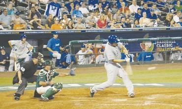 ISRAEL'S NATE FREIMAN hits home run