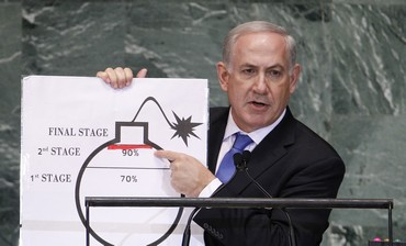 Netanyahu draws red line on bomb graphic
