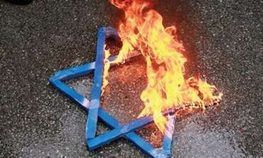 Burning Jewish star (illustrative)