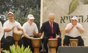 President Peres with special needs band
