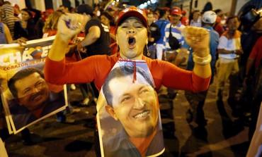 Supporters of Venezuela's Hugo Chavez celebrate