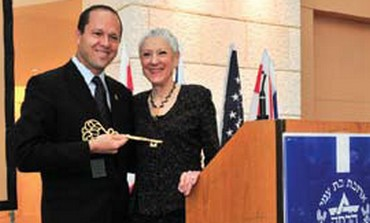 Marcie Natan with mayor of Jerusalem Nir Barkat