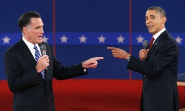 Romney, Obama point at each other during debate