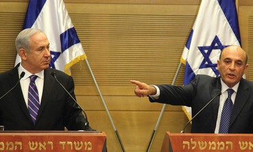 Netanyahu and Mofaz announcing joining coalition