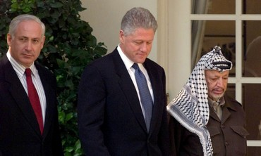 Binyamin Netanyahu, Bill Clinton and Yasser Arafat