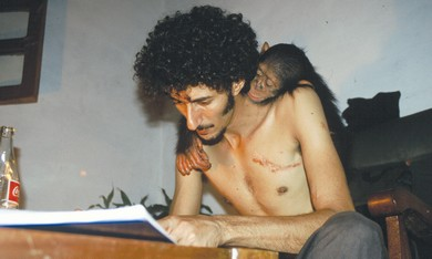 Ofir Drori with his chimp.