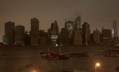 Dark Manhattan skyline in Hurricane Sandy.