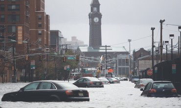 Submerged cars in  Hoboken, New Jersey
