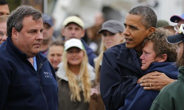 Obama and Chris Christie comfort a storm victim