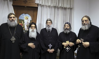 New Coptic Pope Tawdros (On Right) with candidates