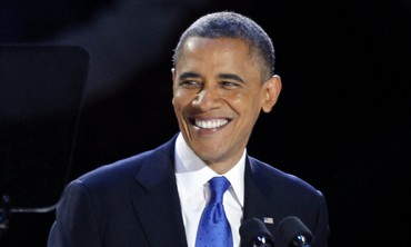 Obama smiles after winning re-election