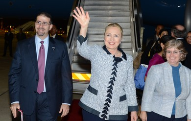 US Secretary of State Clinton arrives in Israel