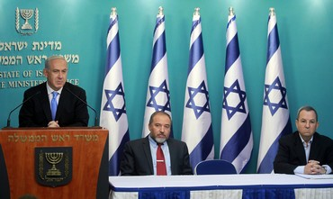 Netanyahu, Barak, Liberman press conference