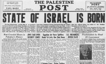State of Israel is born headline, 'Palestine Post'